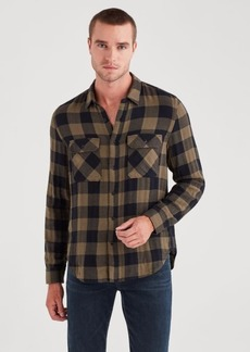 7 For All Mankind Long Sleeve Double Face Buffalo Check Shirt in Military Olive