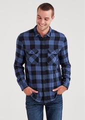 7 For All Mankind Long Sleeve Double Face Buffalo Check Shirt in Navy