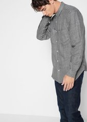 7 For All Mankind Long Sleeve Double Face Plaid Shirt in Charcoal