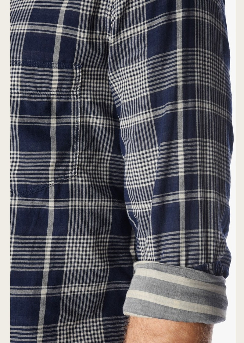 7 For All Mankind Long Sleeve Double Face Plaid Shirt in Navy Taupe Plaid