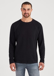 7 For All Mankind Long Sleeve Double Knit Raglan Tee in Black