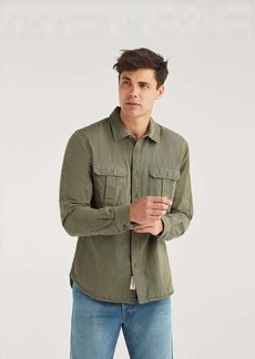 7 For All Mankind Long Sleeve Double Patch Pocket Shirt in Army