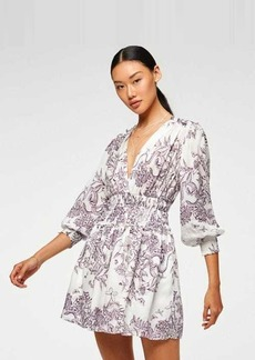 7 For All Mankind Long Sleeve Dress with Smocking in Purple Magic Garden