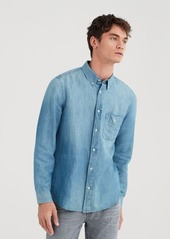 7 For All Mankind Long Sleeve Front Pocket Denim Shirt in Light Wash