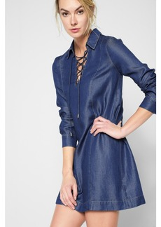 Long Sleeve Lace Up Denim Dress in Pacific Rinse