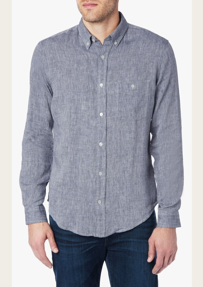 7 For All Mankind Long Sleeve Lightweight Oxford Shirt in Authentic Navy