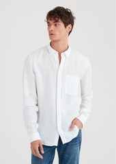 7 For All Mankind Long Sleeve Linen Front Pocket Shirt in Cloud White