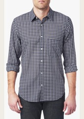 7 For All Mankind Long Sleeve Micro Plaid Shirt in Dark Navy
