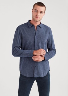 7 For All Mankind Long Sleeve Microstripe Shirt in Navy