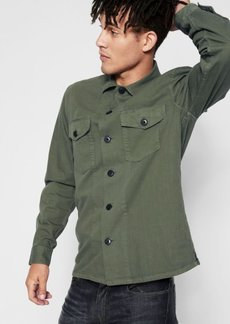 7 For All Mankind Long Sleeve Military Shirt in Fatigue
