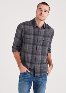 7 For All Mankind Long Sleeve Plaid Utility Shirt in Grey
