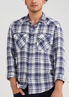 7 For All Mankind Long Sleeve Plaid Western Shirt in Faded Violet
