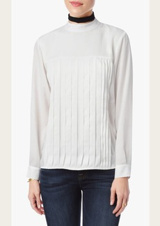 7 For All Mankind Long Sleeve Pleated Blouse in White