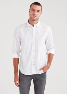 7 For All Mankind Long Sleeve Poplin Shirt in White