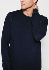 7 For All Mankind Long Sleeve Raw Crew Neck Tee in Washed Navy