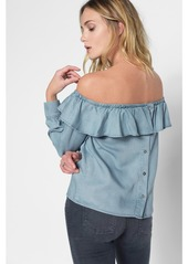 3bac1409ceb ... 7 For All Mankind Long Sleeve Ruffled Off Shoulder Top in Hudson Sky ...