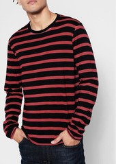 7 For All Mankind Long Sleeve Stripe Crew in Red
