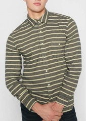 7 For All Mankind Long Sleeve Stripe Flannel Shirt in Rock Stripe