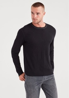 7 For All Mankind Long Sleeve Triple Needle Crew in Black