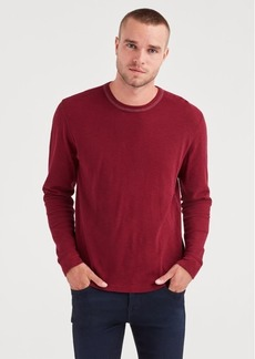 7 For All Mankind Long Sleeve Triple Needle Crew in Dark Burgundy