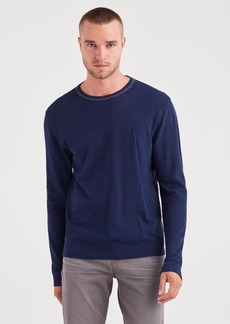 7 For All Mankind Long Sleeve Triple Needle Crew in Midnight Navy