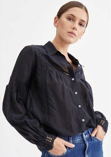 7 For All Mankind Long Sleeve Vintage Lace Shirt in Jet Black