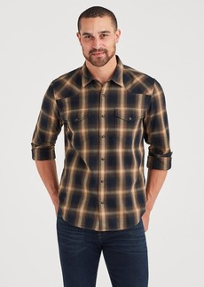 7 For All Mankind Long Sleeve Western Shirt in Brown Plaid