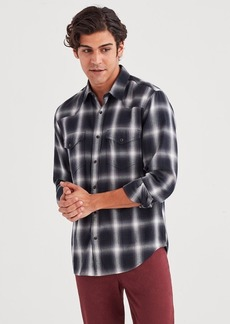 7 For All Mankind Long Sleeve Western Shirt in Grey Plaid