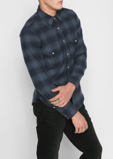 7 For All Mankind Long Sleeve Western Shirt in Navy