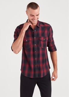 7 For All Mankind Long Sleeve Western Shirt in Vibrant Red and Black Plaid