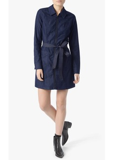 Long Sleeve Zip Front Belted Mini Dress in Dark Empress