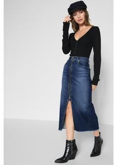 Long Zip Front Skirt in Nightfall