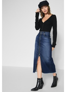 Long Zip Front Skirt in Nightfall