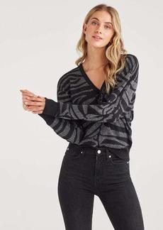 7 For All Mankind Lurex Zebra V Neck Sweater in Jet Black Silver