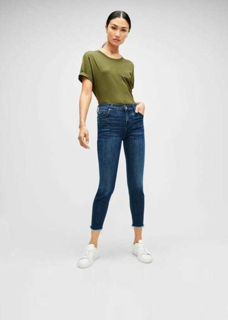 7 For All Mankind Luxe Vintage Ankle Skinny with Frayed Hem in Dark Indigo