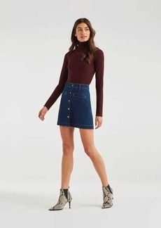 7 For All Mankind Luxe Vintage Button Front Skirt in Fleur