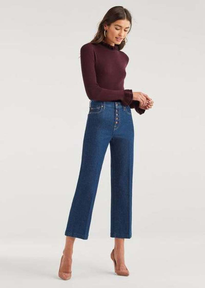 7 For All Mankind Luxe Vintage Cropped Alexa with Exposed Button Fly in Fauna