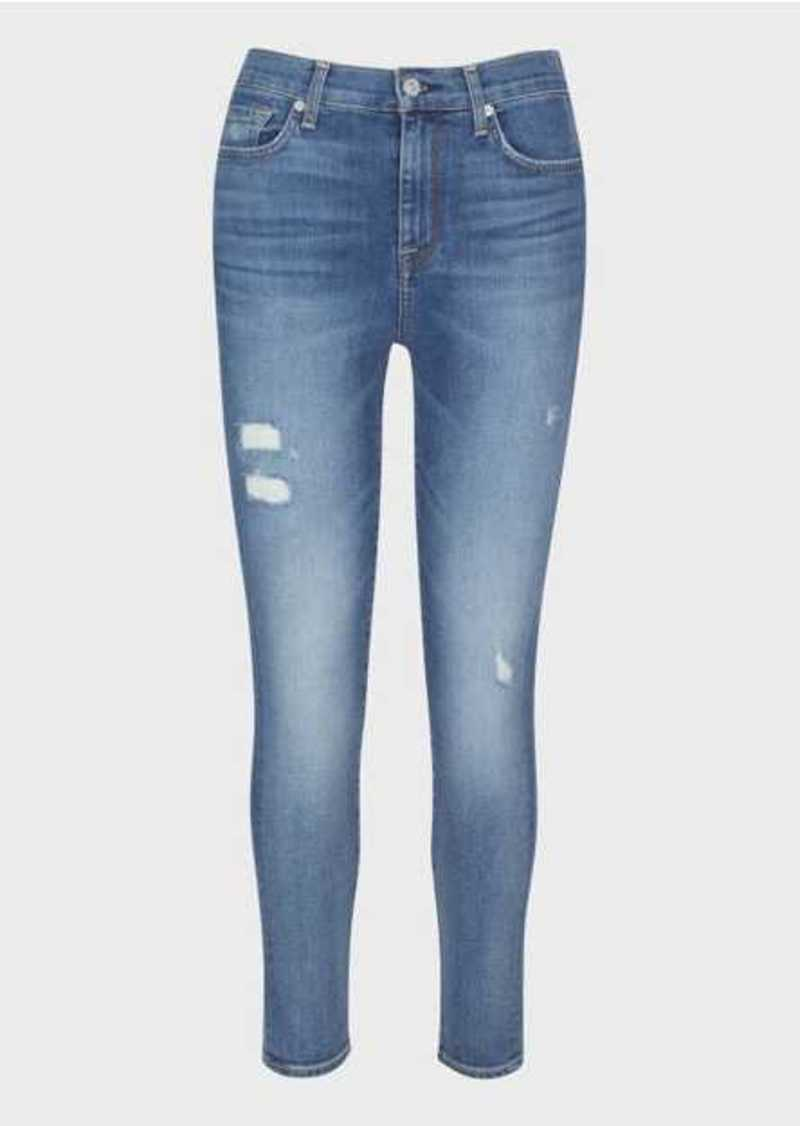 7 For All Mankind Luxe Vintage High Waist Ankle Skinny in Distressed Authentic Light