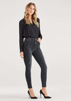 7 For All Mankind Luxe Vintage High Waist Aubrey with Snake Printed Sides in Coal