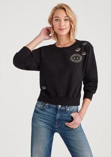 7 For All Mankind Magic Eyes Crewneck Sweatshirt in Jet Black