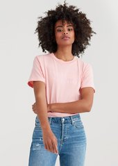 7 For All Mankind Mankind Baby Tee with Pink Embroidery Print in Quartz Pink