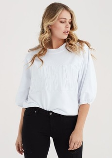 7 For All Mankind Mankind Crewneck Sweatshirt with 3/4 Puff Sleeve and Embroidery in White