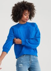 7 For All Mankind Mankind Crewneck Sweatshirt with Embossing in Strong Blue
