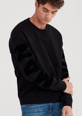7 For All Mankind Mankind Flock Backed Crewneck in Black