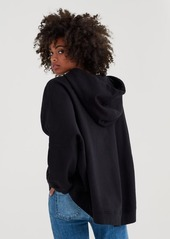 7 For All Mankind Mankind High-Low Dolman Hoodie with Embroidery in Black