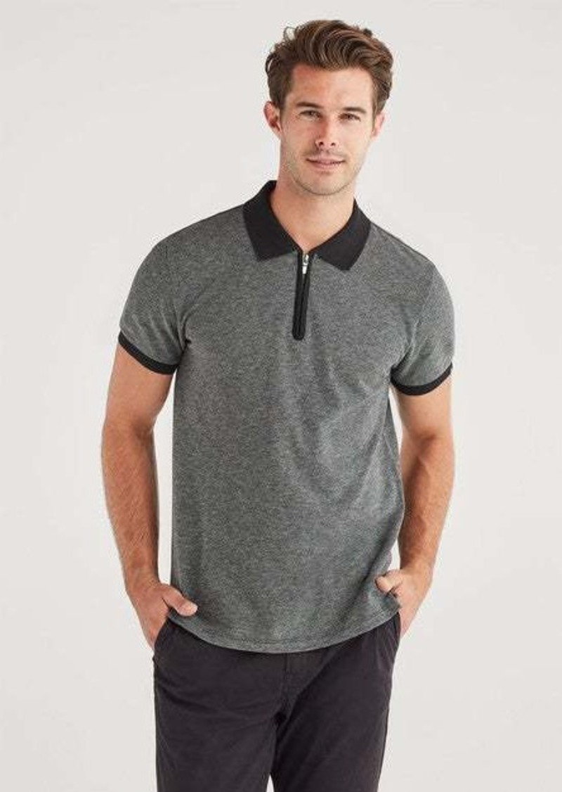 7 For All Mankind Marled Pique Half Zip Polo in Charcoal