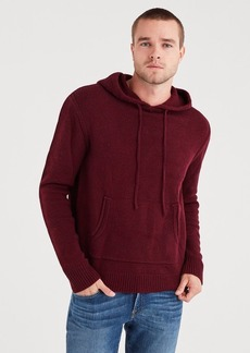 7 For All Mankind Marled Sweater Hoodie in Dark Burgundy