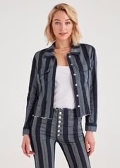 7 For All Mankind Marques Almeida x 7FAM Fitted Jacket in Blue with Stripes