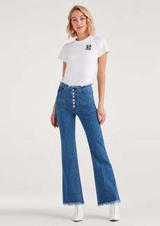 7 For All Mankind Marques Almeida x 7FAM High Waist Flare in Mid Blue