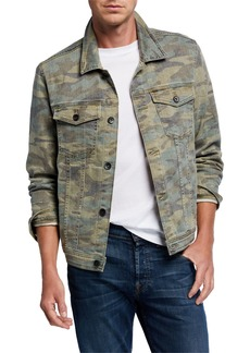 7 For All Mankind Men's Camo-Print Trucker Jacket